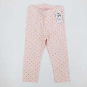 Children's Place Leggings Pink/Silver Dots 3T